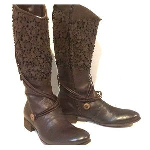 Area Forte Anthropology pressed flower boots.